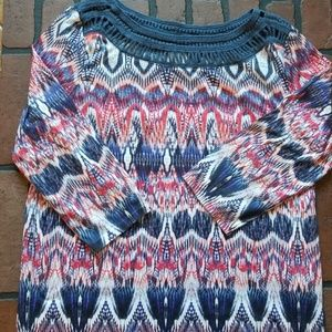 Chico's women's patriotic 3/4 sleeve shirt size 1